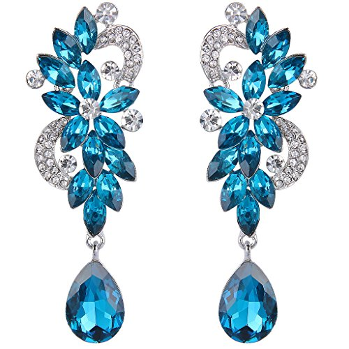Clearine Women's Bohemian Boho Crystal Flower Wedding Bridal Chandelier Teardrop Bling Long Dangle Earrings Blue Turquoise Color Silver-Tone