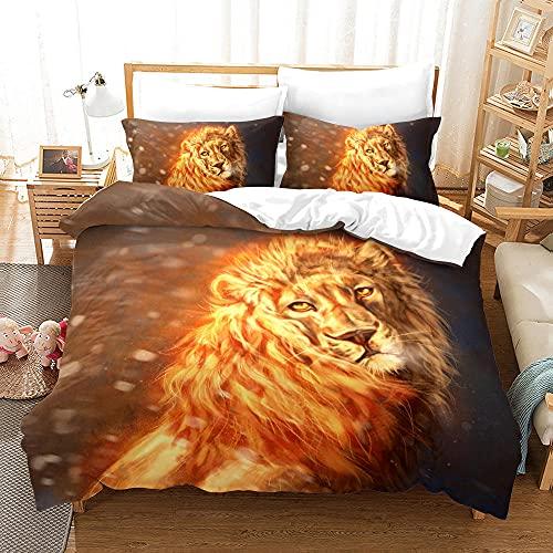 Bedclothes-Blanket Funda nórdica Funda de Colcha,Impresión de la Mano de Tres Piezas del Regalo de Cama Digital de león digital-11_210 * 210