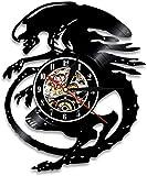 Relojes De Pared Reloj De Pared Extraterrestre Alienígena Película De Terror Decoración De Pared Vintage Reloj De Disco De Vinilo Platillo Hombre Reloj De Pared Silencioso Regalo Para Jugadores