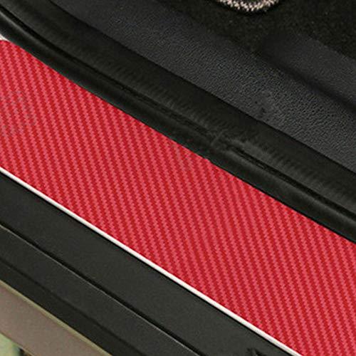 ZZH Seuil De Voiture Autocollants 4 PCS 3D en Fiber De Carbone Dustproof Sunproof Film Extérieur Voiture Porte Autocollants_Red