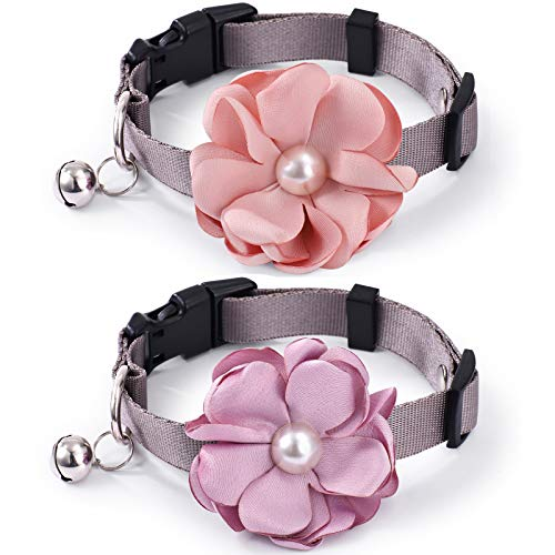 Freewindo 2PCS Cat Collars Bow Tie Dog Collars, Detachable Flower Dog Cat Collar with Bell, Adjustable Nylon Dog Collar for Small Medium Dogs and Cats (Small)