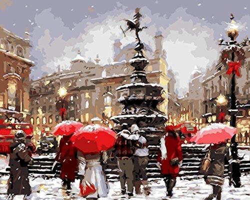 YEESAM ART Nouvelles Peinture au Numero pour Adulte Enfants - Noël Romantique Christmas Street View Vue de la Rue 40x50 cm - DIY Painting by Numbers numéro Cadeaux de noël