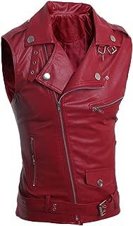 Men's PU Leather Punk Zipper Sleeveless Vests Jacket