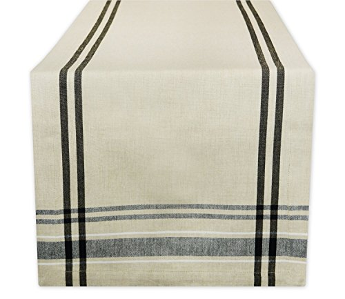DII 100% Cotton Everyday French Stripe Tabletop Collection, 14x108, Taupe/Black