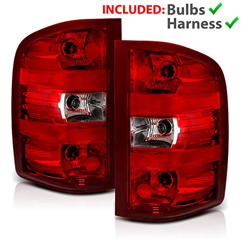 AmeriLite Red Replacement Brake Tail Light Set for Chevy Silverado w/Bulb and Harness