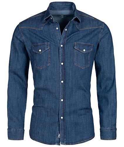 Rock Creek Herren Jeans Hemd Herrenhemd Denim Jeanshemd Vintage mit druckknöpfen Regular Fit Stehkragen Kentkragen Langarm H-199 Dunkelblau 2XL
