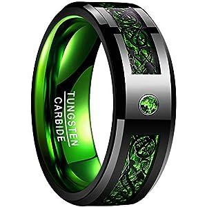 NUNCAD Unisex Damen Herren Ring aus Wolfram mit Zirkonia und Kohlefasern Schwarz Grün 8mm für Lifestyle Fashion Verlobung Hobby