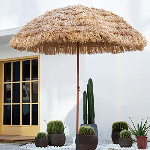 LDJ Parapluie De Parasol De Paille De Plage Hawaïenne Tropicale, Imperméabilisée Parasol De Jardin Toit De Chaume Style Hawaïen, Couleur Naturelle 1.6m