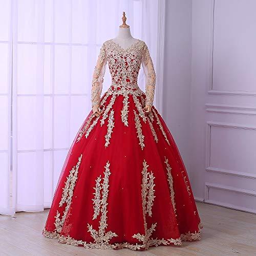 QAQBDBCKL Rot mit Champagner Bestickt Ballkleid Mittelalter Renaissance Kleid Königin Kostüm...