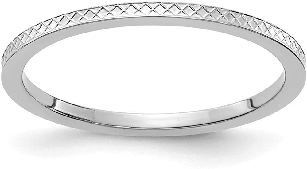 10k White Gold 1.2mm Criss Cross Religious Pattern Stackable Wedding Ring Band Size 4.00 Fancy/Fine Jewelry For Women Gifts For Her
