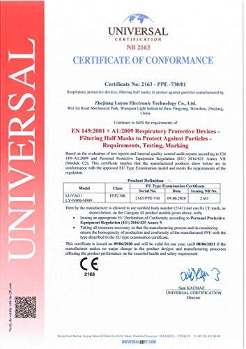 Luyao Atemschutzmasken FFP2, CE-zertifiziert, ohne Schutzventil, atmungsaktiv, 20 Stück - 5