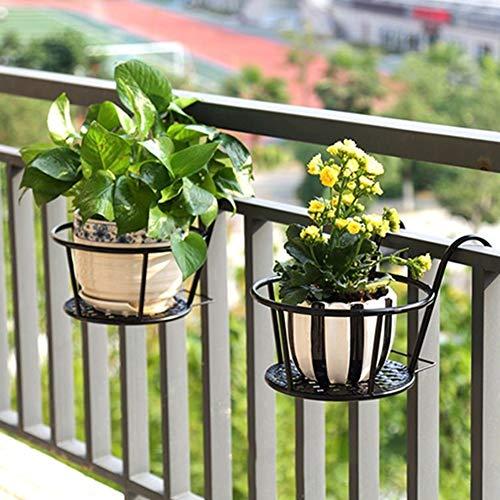 FOReverweihuajz Runde Hängende Pflanze Blume Balkon Garten Bonsai Topf Eisenregal Blumentopfhalter Hakenhalterung Für Balkon Hof Antikes Messing