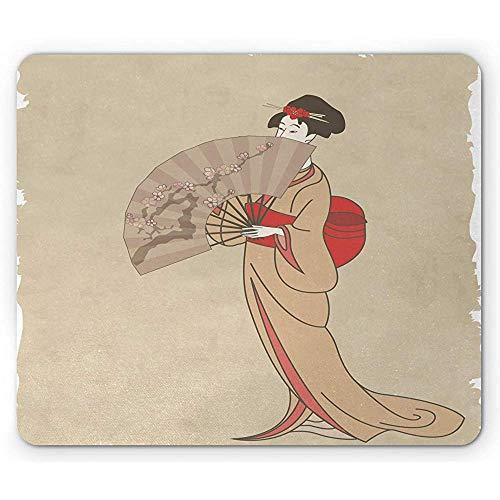 Kunst Mausunterlage,japanisches Mädchen im Vintage Design in traditioneller Kleidung mit einem Ventilator,rutschfestem Gummi Mousepad in Standardgröße,hellem Sepia Tan,dunkler Koralle und 30X25CM