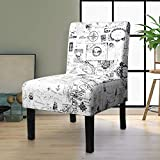 Modern Fabric Print Armless Accent Chair Decorative Slipper Chair Vanity Chair for Bedroom Desk, Corner Side Chair Living Room Furniture Map Design White (1, Wh/Black (Map))