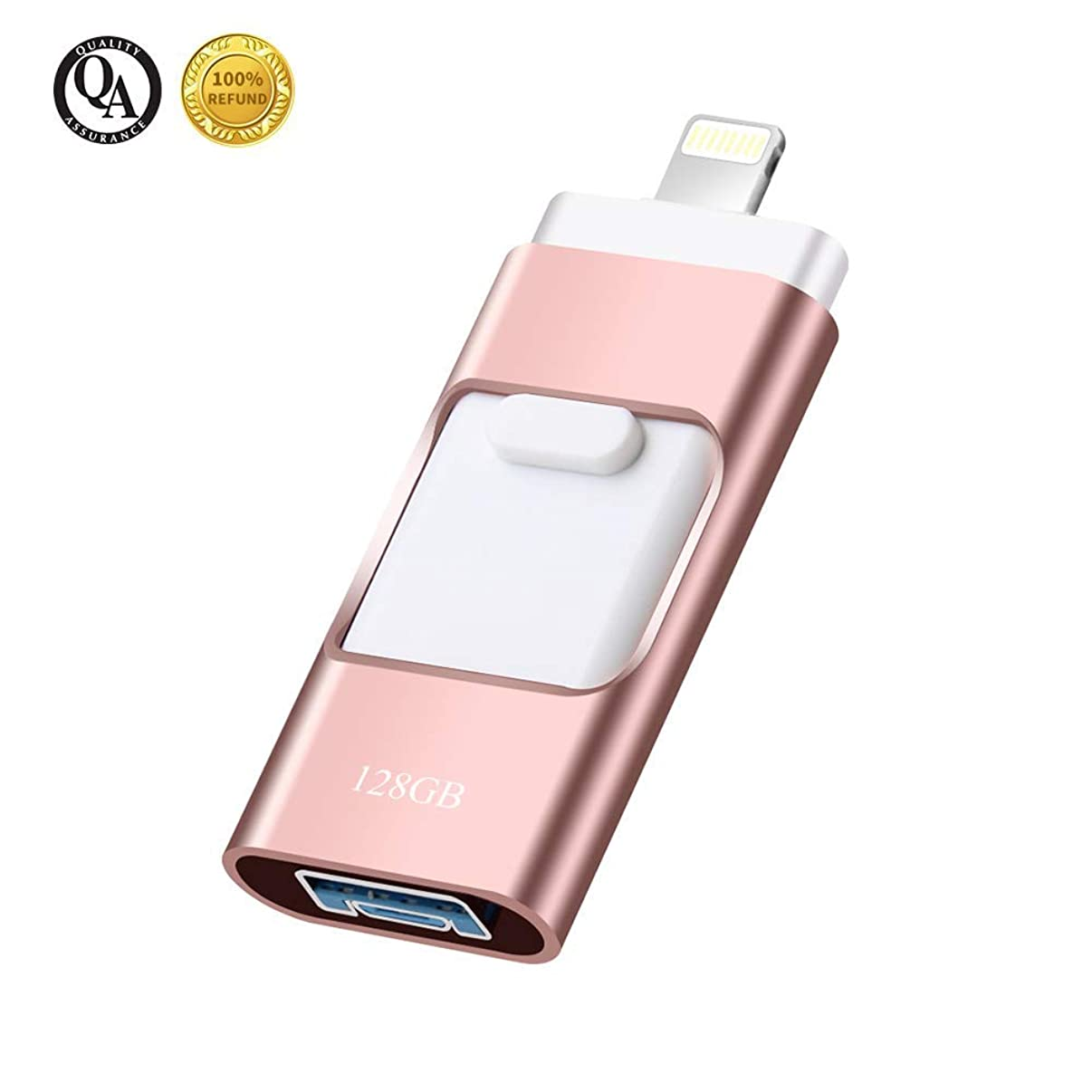 USB Flash Drive 128GB, USB 3.0 Memory Stick 128GB Data Storage External Flash Drive 3-in-1 Retractable Thumb Drives Jump Drives for iOS Phone/Android/PC (128GB Pink)