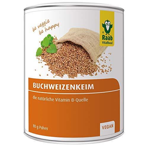 Raab Vitalfood Buchweizenkeim-Pulver, gekeimt, laborgeprüft, vegan, glutenfrei, mit Vitamin-B-Komplex, Buchweizen, 80 g