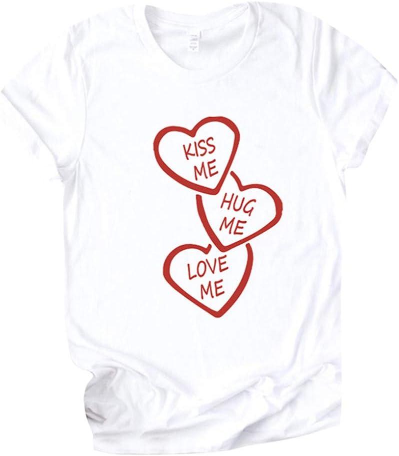 YOMXL Kiss Me Hug Love Day Print Limited price Spring new work Letter Valentine's O-Neck