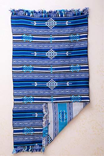 SOLTAKO Marokkaans berber gefranjerd tapijt, dubbelzijdig bruikbaar 100% wol, oosterse kleurige Kelim, etnisch chindi vintage stijl, vloermat, Kelim met boho patronen, tribale patroon, blauw / turquoise 110 x 180 cm