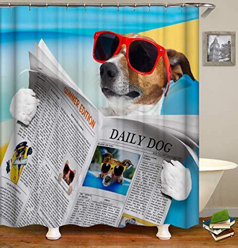 123456789 Gafas de Sol Junto al mar El Perro Lee el periódico Hermosa impresión 3D HD no se desvanece, Cortina de Ducha de Fibra de poliéster Impermeable,