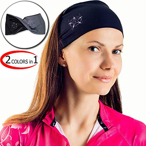 Сhieflines Yoga Headband for Women - Sweatband for Sport, Running, Workout, Traveling or Everyday Use - Insulates and Absorbs Sweat - Two-Sided: Black & Grey