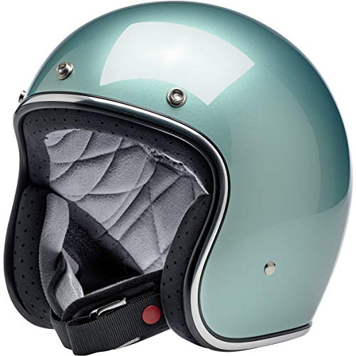 Casco Jet Aperto Biltwell Bonanza Metallic Sea Foam Approvato DOT Helmet Biker Look Stile Universale x Genere Custom Vintage retrò Anni 70 off-Road Street Taglia M