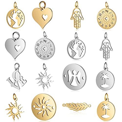 5 unids / lote de acero inoxidable mapa del mundo dorado diy joyería que hace el encanto al por mayor Palm Sun Heart collar colgante pulsera encantos, T547,2x5