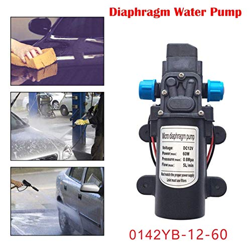 Wasserpumpe 60W 12V Hochdruck-Membran selbstansaugende Pumpe Druckwasserpumpe mit Flüssigkeitspumpe Automatische Schalter für Caravan / Boot / RV / Garten Hochdruck Selbstansaugend Membranwasserpumpe