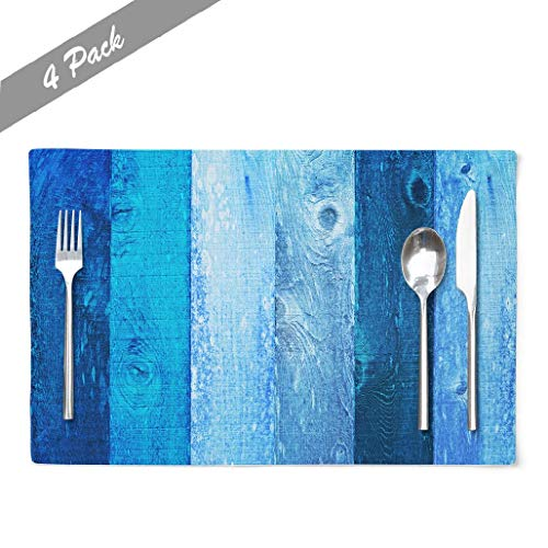 Navy Blue Placemats, Cafe Placemats Distressed Vintage Egg Navy Amp Baby Boy Blue Grunge Wood Texture Dining Placemats Colorful Placemats for Home Kitchen Decorations 18 x 12 Inches, Aqua