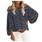 Rouped Camiseta Mujer Y2k Hombro al Aire Oversize : Hippie Blusas asimetricas Mujer Verano 2021,RC1049