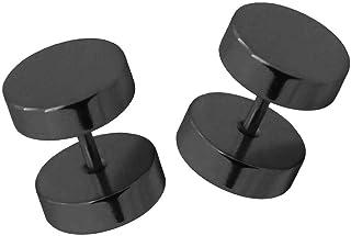 2 St 6 mm pendientes arete rojo blanco negro plateado acero quirúrgico fakeplugs