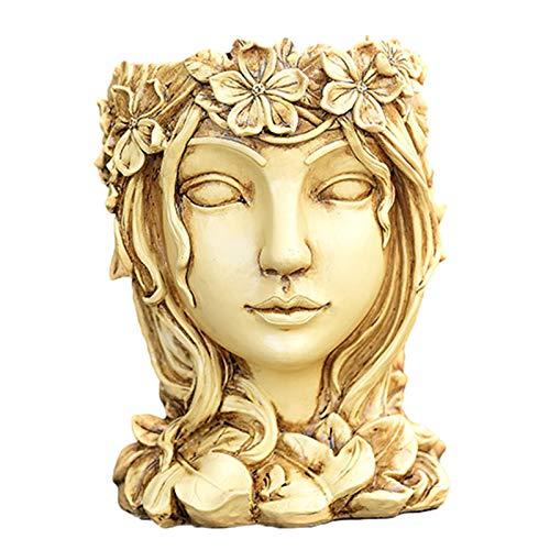 Xuanshengjia Göttin Kopf Pflanzer Statue, Premium Harz Blumentopf Garten Ornament, Rasen Garten Hof Dekor Blumenarrangement Vase Container Blumentopf Ornamente