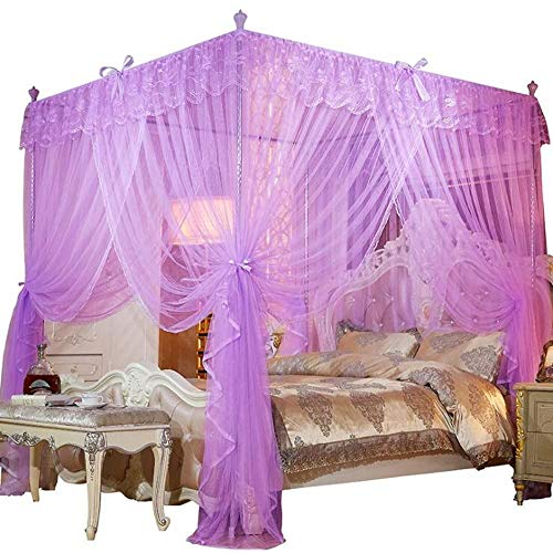 Hixonair 4 Corners Post Canopy Bed Curtain Princess Cute Cozy Bow Mosquito Netting (Purple, Small Double)