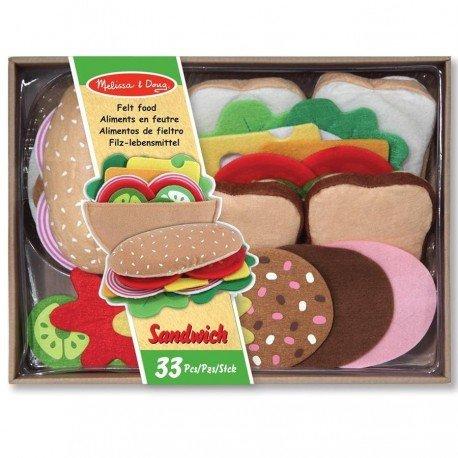Set Sandwich jouet en feutre 33 pièces dînette Enfants 3 ans +