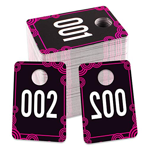 """FaCraft Live Number Tags, 1.7""""x 2.5"""" Live Number Card 001-100,Reusable Normal and Reversed Mirrored Image Number Tags for Live, Hanger Cards for Clothes"""