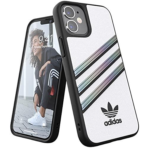 adidas Funda diseñada para iPhone 12 Mini de 5,4 Pulgadas, Fundas a Prueba de caídas, Bordes elevados, Funda de Poliuretano Original, Color Blanco holográfico