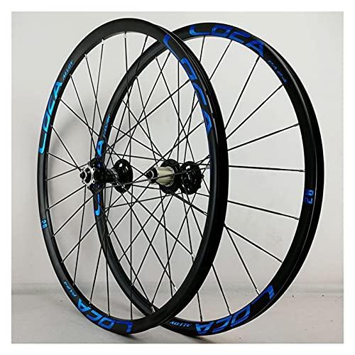 zyy Juego Ruedas Bicicleta 26 27.5 29 Pulgadas MTB Aleación Llanta Doble Pared 24H QR Freno Disco para Casete 8 9 10 11 12S (Color : Blue, Size : 26in)