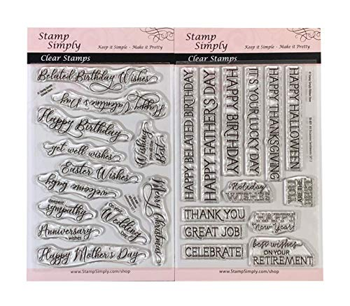 Stamp Simply Clear Stamps All Occasion Sentiments Birthday, Retirement, Holiday and More (2-Pack) 4x6 Inch Sheets - 25 Pieces