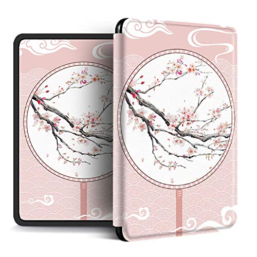 FundaparaKindlePaperwhite,Funda Kindle Amazon Kindle con Función De Activación/Reposo Automático Patrón De Abanico De Flor De Cerezo Rosa Funda para Kindle Magnéti