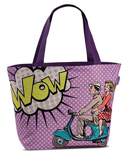 Pop-Art Design Tasche XL Strandtasche lila Badetasche coole Umhängetasche im Comic-Style Motorroller