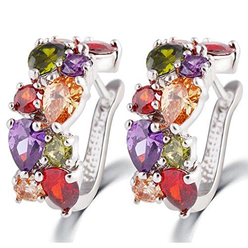 Butterme Oreille colorée élégante Boucle Exquis Blanc Boucles d'oreilles plaqué Or Cristal Zircon dormeuses Cadeau de Bijoux