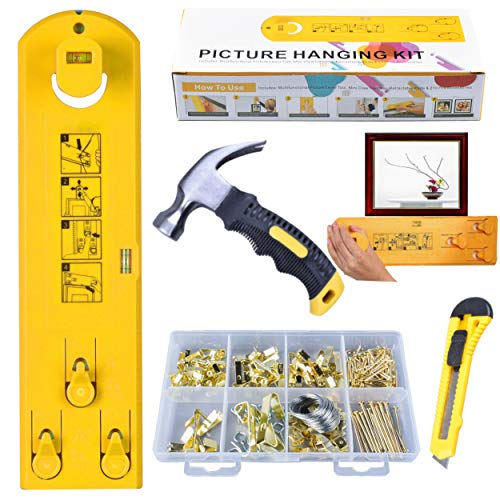 Picture Hanging Kit│ Picture Frame Level Hanger Tool│ Wall Hanging Tool│ 201 Pcs Heavy Duty Picture Hanging Hardware with Hooks│ Nails│ Wire│ Eye Screw│ Mini Claw Hammer│ Retractable Knife