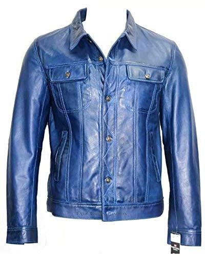 Hommes Blue Button Style Camionneur Court Fermeture réel Souple Veste en Cuir Toutes Les Tailles (UK Large/EU 52)