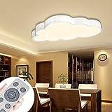 Luz de techo LED de 48w para habitación de niños, nubes regulables, dormitorio con control remoto, luz de nube ultrafina para sala de estar, comedor y sala de estudio, blanco