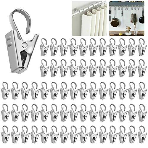Odowalker 100個 カーテンクリップ カーテンリングクリップ カーテンフック ステンレス カーテンピンチ 多用途 カーテンフッククリップ (32mm)