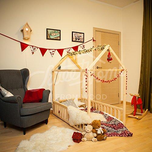 Sweet Home à partir de bois Maison Lit avec barrière et lattes à partir de bois de bouleau Taille simple, Pin, naturel, 190x90cm