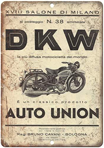 HALEY GAINES DKW Motorfiets Auto Unie Milaan Italië Muurblik Tekenen Decor Metalen Plaques Waarschuwing Notice IJzeren Schilderen Voor Bar Koffie House keukens Badkamers Garages 20 * 30cm