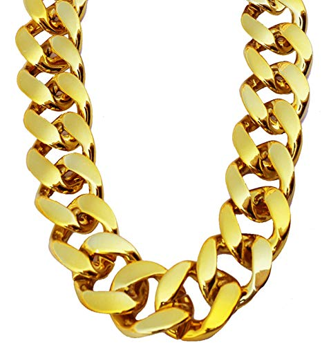 PinCute Big Chunky Hip Hop Turnover Chain, Face Gold Chain Costume, Plastic Gold Chain Necklace, 90s Punk Style Necklace for Rapper Costume, 32 inches Long (32)