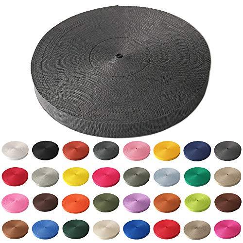 Schnoschi Gurtband Polypropylen 2 Meter lang – viele Verschiedene Breiten und Farben 10mm 15mm 20mm 25mm 30mm 40mm 50 mm (dunkelgrau, 30 mm)