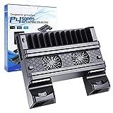 EXTSUD Base PS4 Slim/PRO 2 in 1 Supporto Verticale PS4 con Ventola di Raffreddamento Stazione di Ricarica Base Caricatore per PS4/PS4 Slim/PS4 PRO Controller Accessorio Stand per PS4