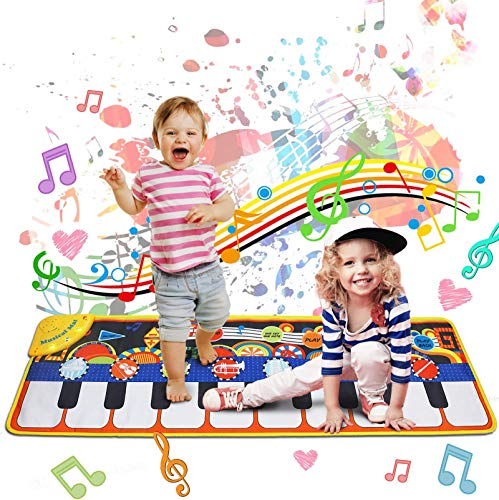 """Music Mat Toy for Kids Toddlers Age 3-8 Years Old, 19 Piano Key Playmat Touch Play Game Dance Blanket Carpet Mat with Record, Playback, Demo, Adjustable Vol, Educational Toys for Girls Boys, 43""""X14"""""""
